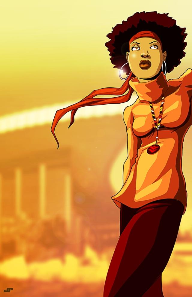 girl afro lean lr